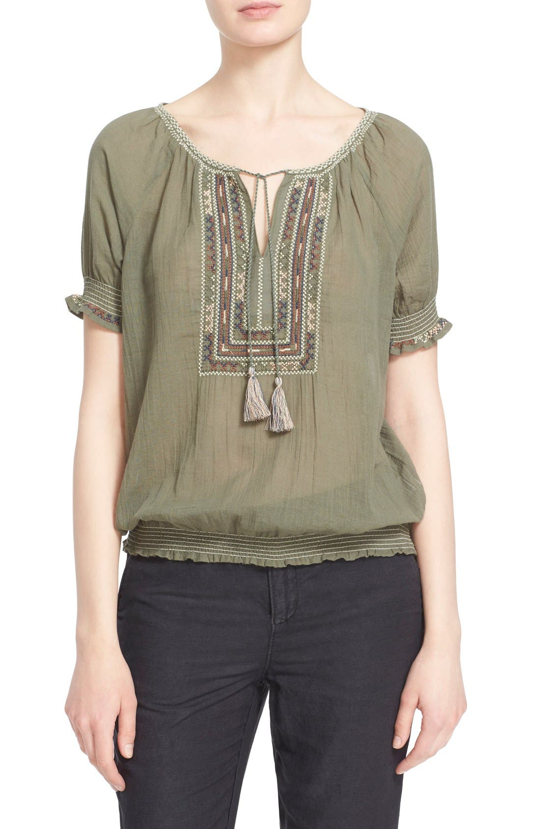 Main Image - Joie 'Feray' Split Neck Embroidered Cotton Top