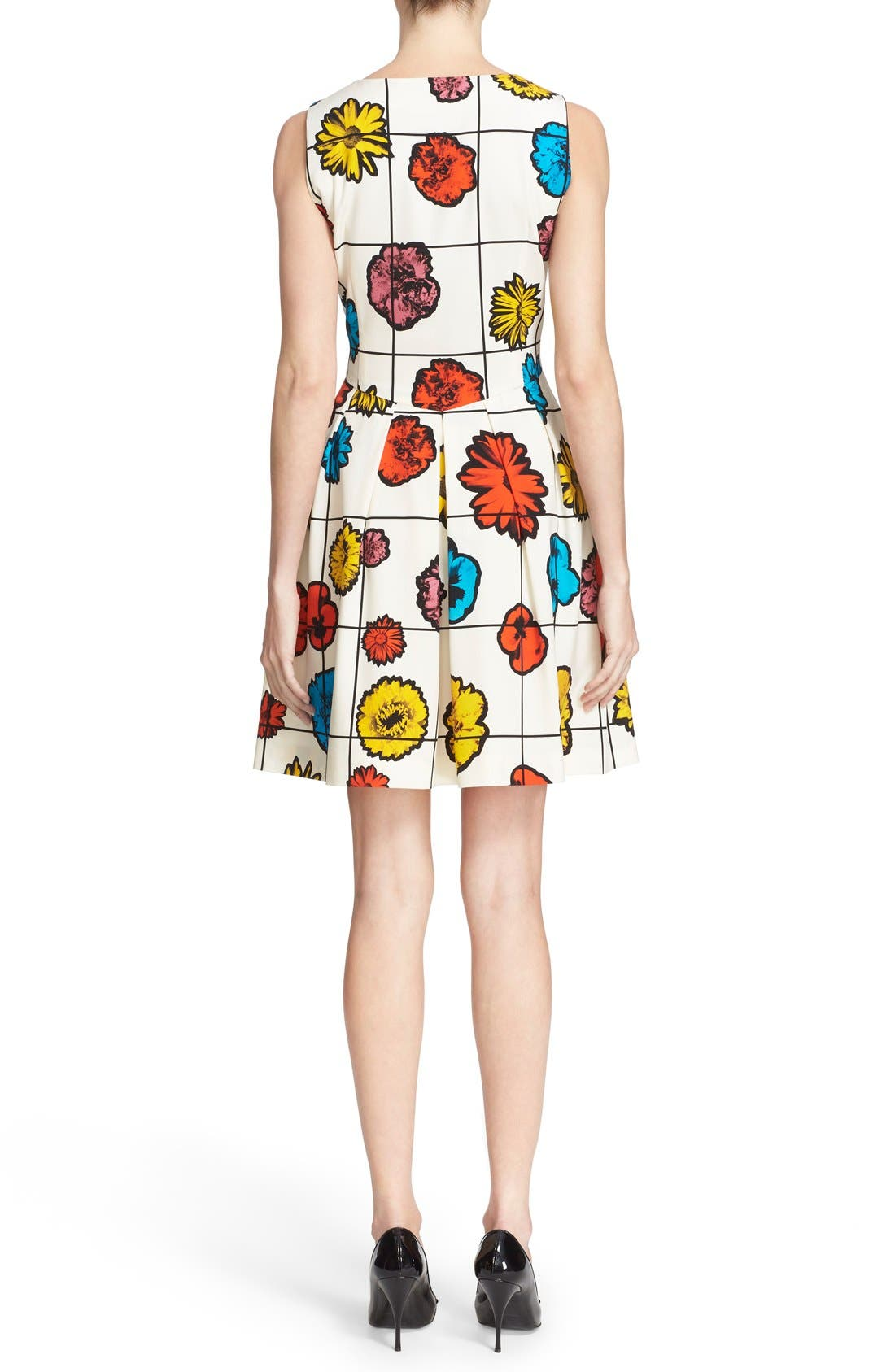 Alternate Image 2  - Moschino Floral & Grid Print Wool Blend Dress
