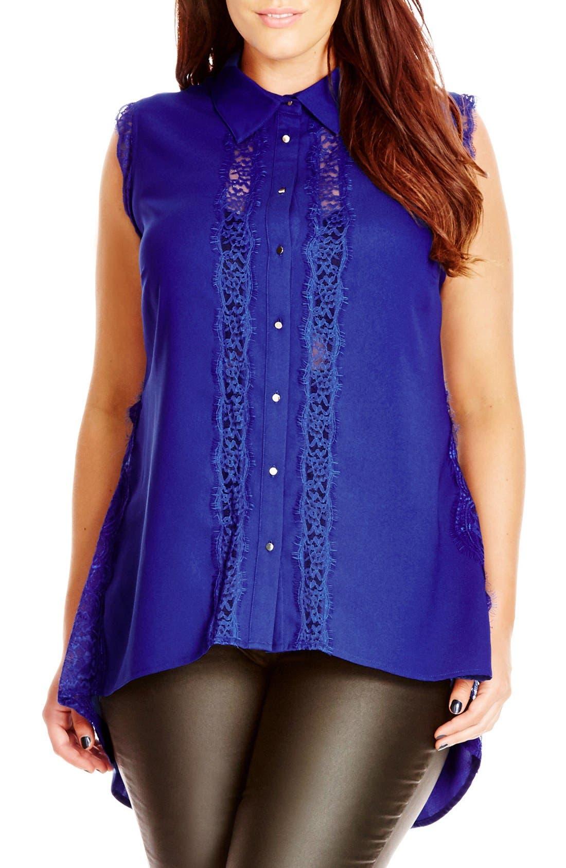 City Chic 'Pretty Lace' Sleeveless High/Low Shirt (Plus Size)