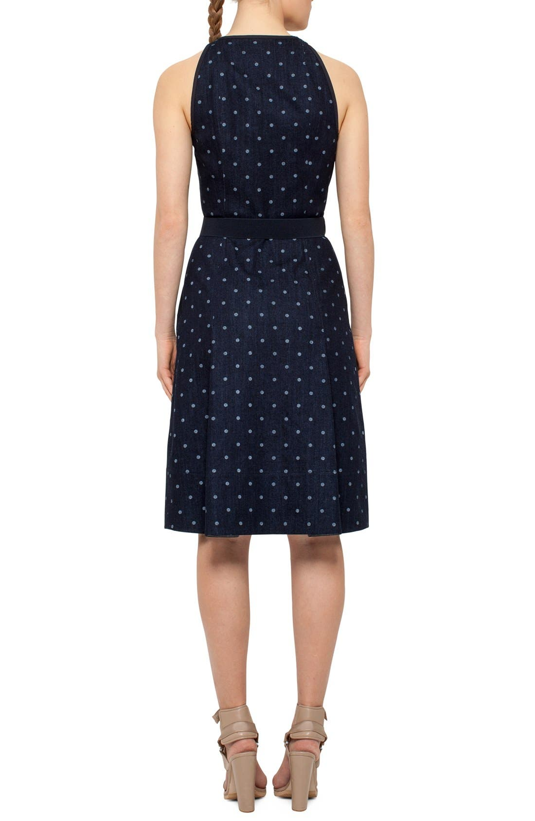 Alternate Image 2  - Akris punto Polka Dot Denim A-Line Dress