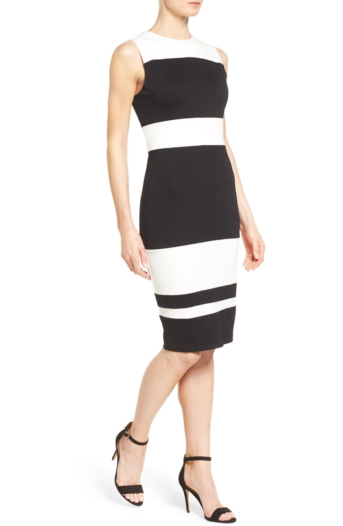 Alternate Image 4  - Matty M Colorblock Stripe Ponte Sheath Dress