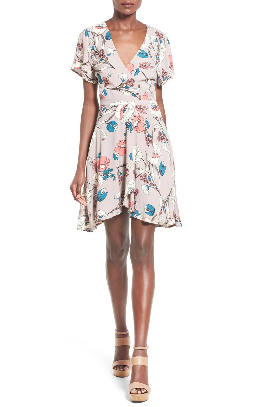 Alternate Image 1 Selected - ASTR Floral Print Wrap Dress