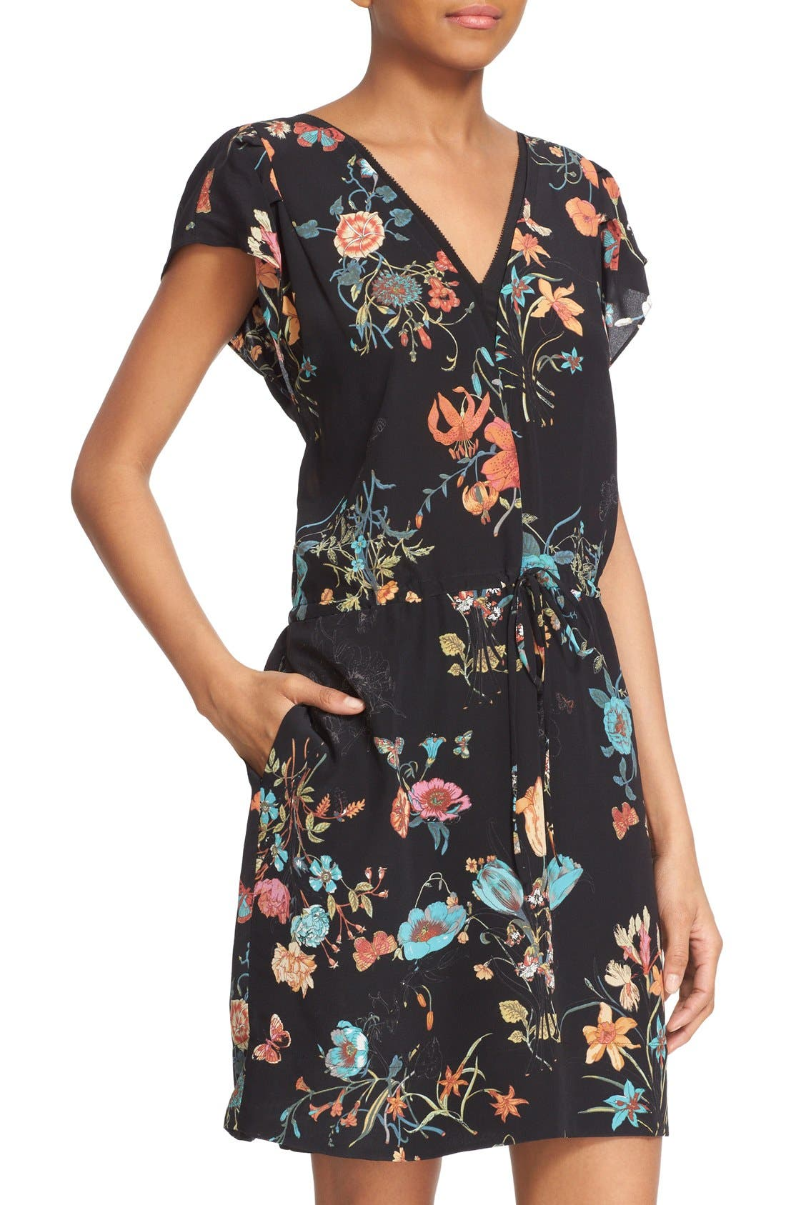 Alternate Image 4  - Rebecca Taylor 'Meadow Floral' Print Silk V-Neck Dress