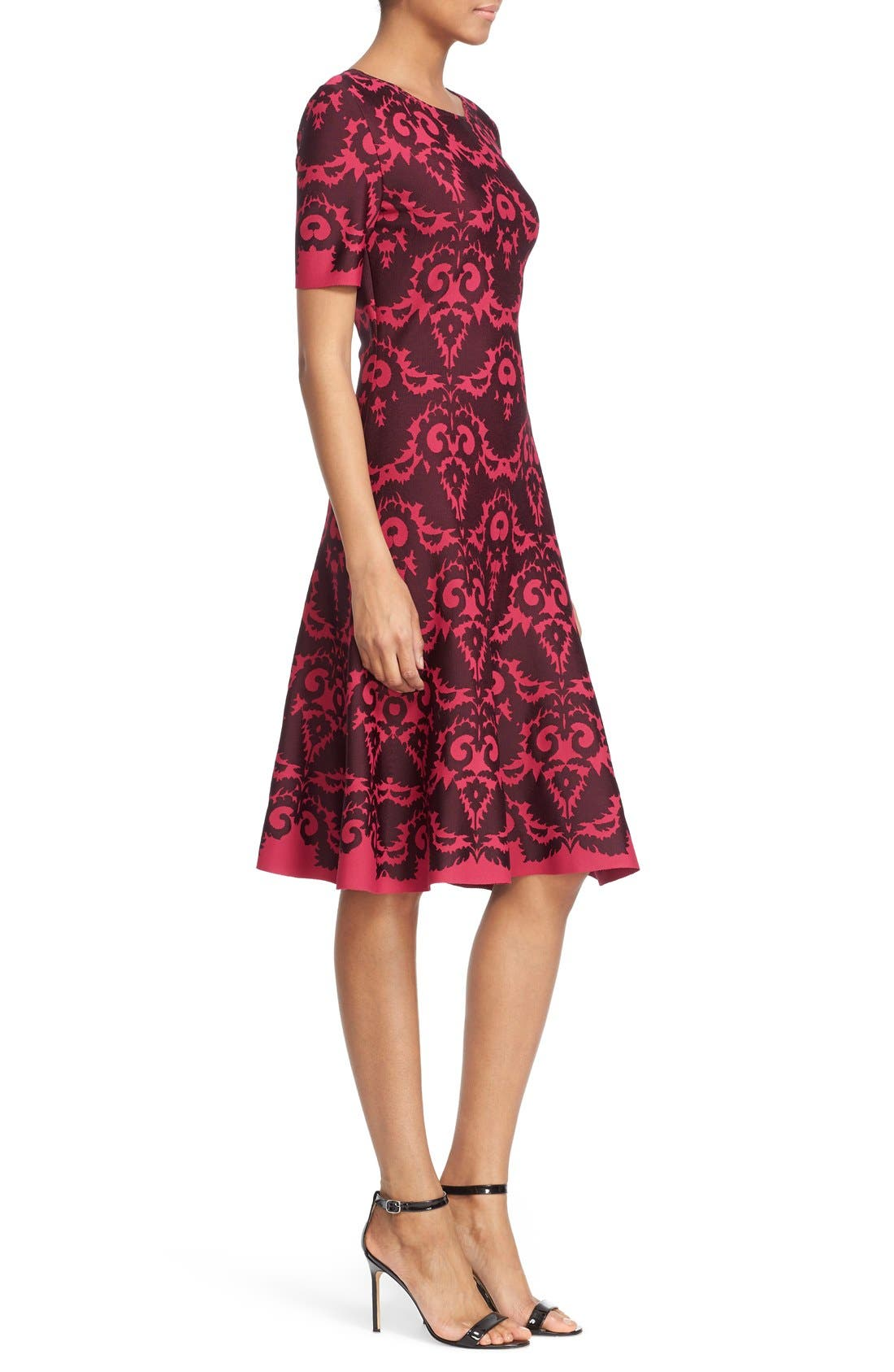 Alternate Image 5  - St. John Collection Intarsia Knit Elbow Sleeve Fit & Flare Dress