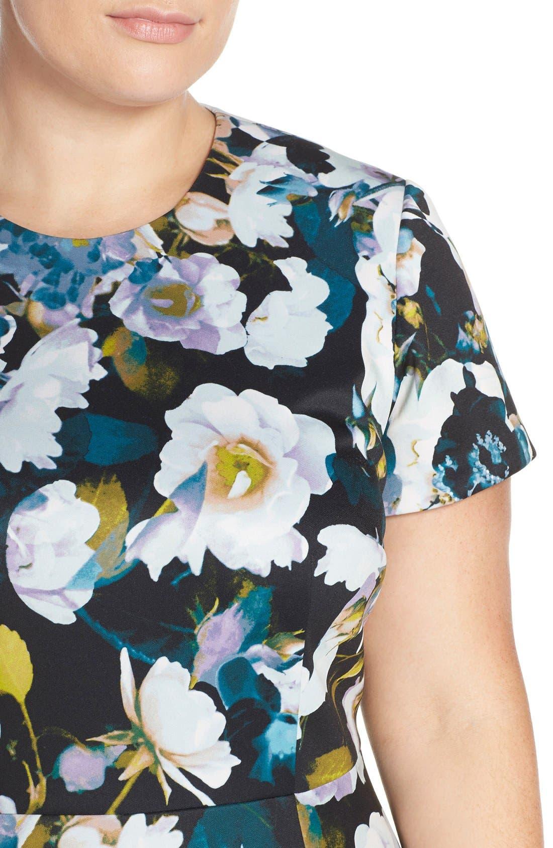 Alternate Image 6  - Eliza J Floral Ponte Fit & Flare Dress (Plus Size)