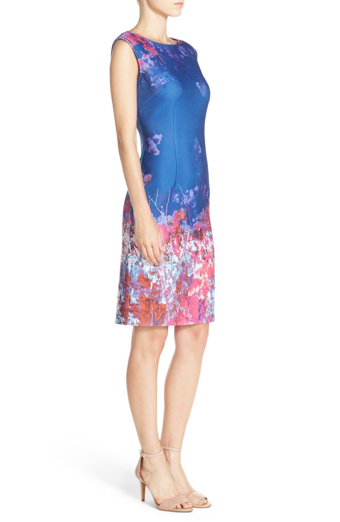 Alternate Image 3  - Adrianna Papell Floral Border Print Scuba Sheath Dress