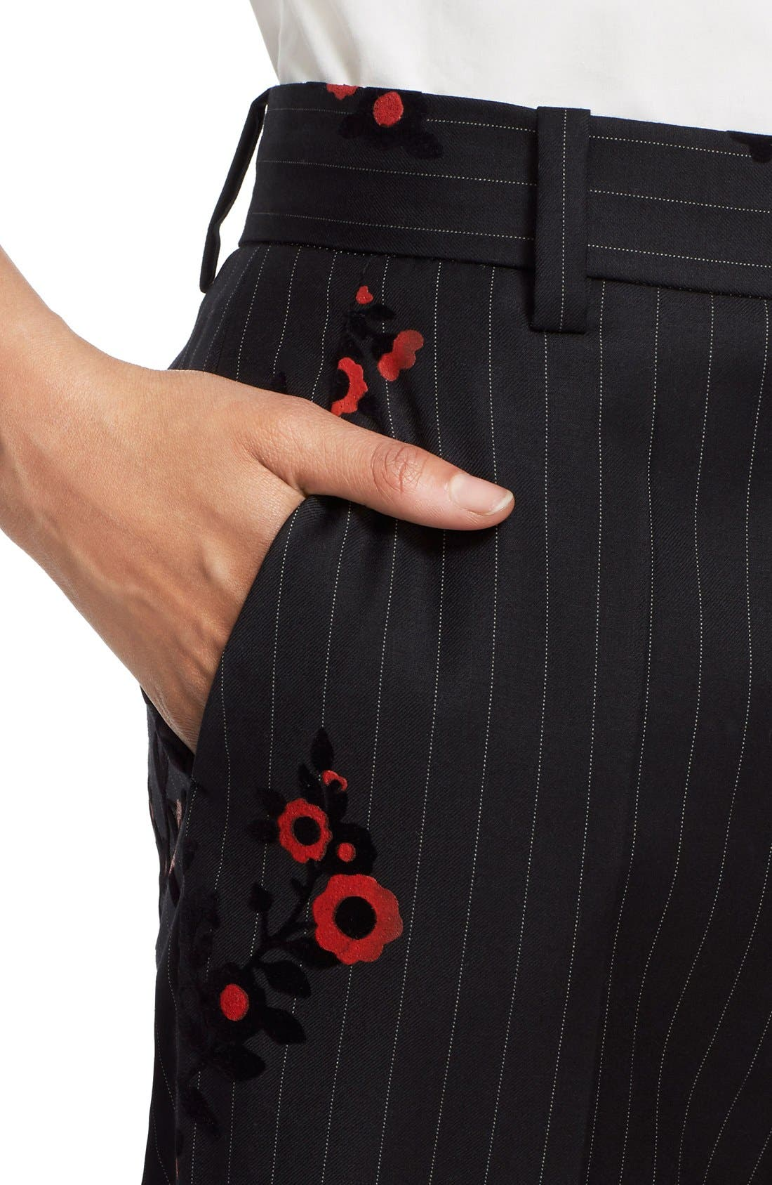 Alternate Image 5  - MARC JACOBS Floral & Pinstripe Crop Flare Wool Pants