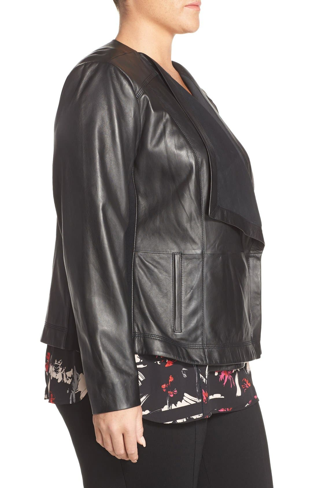 Alternate Image 4  - Sejour Drape Collar Leather Jacket (Plus Size)