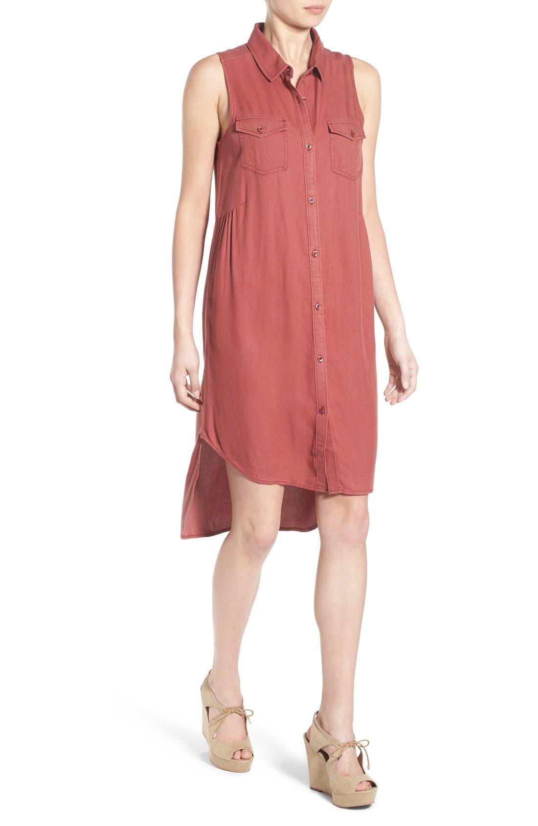 Alternate Image 4  - BP. Sleeveless Woven Shirtdress