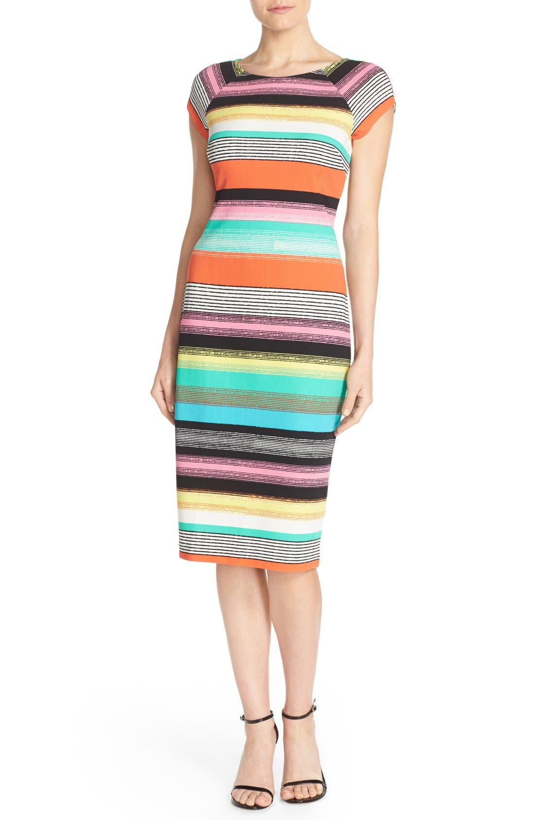 ECI Stripe Piqué Midi Sheath Dress