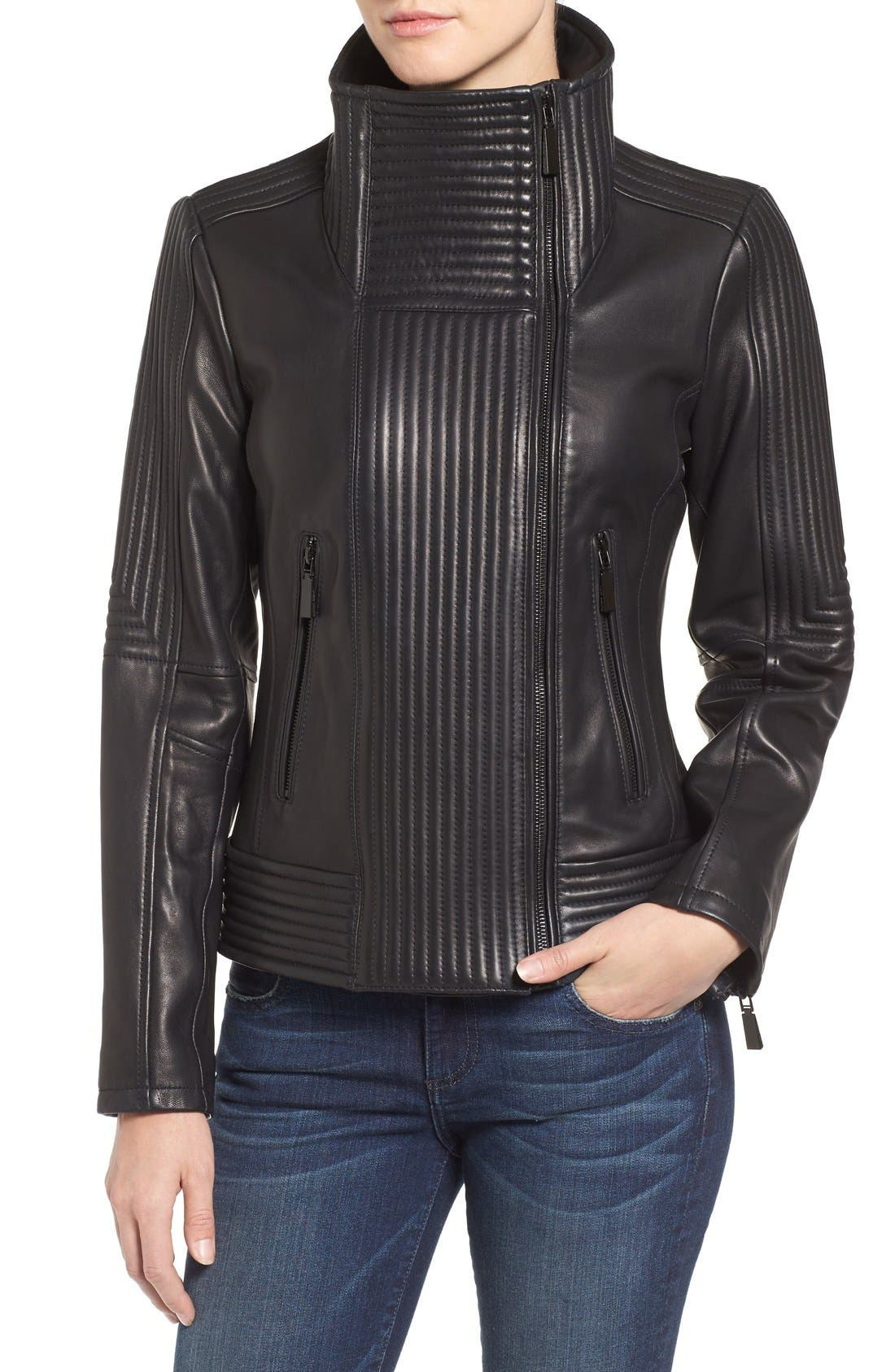 Alternate Image 4  - Vince Camuto Trapunto Leather Jacket