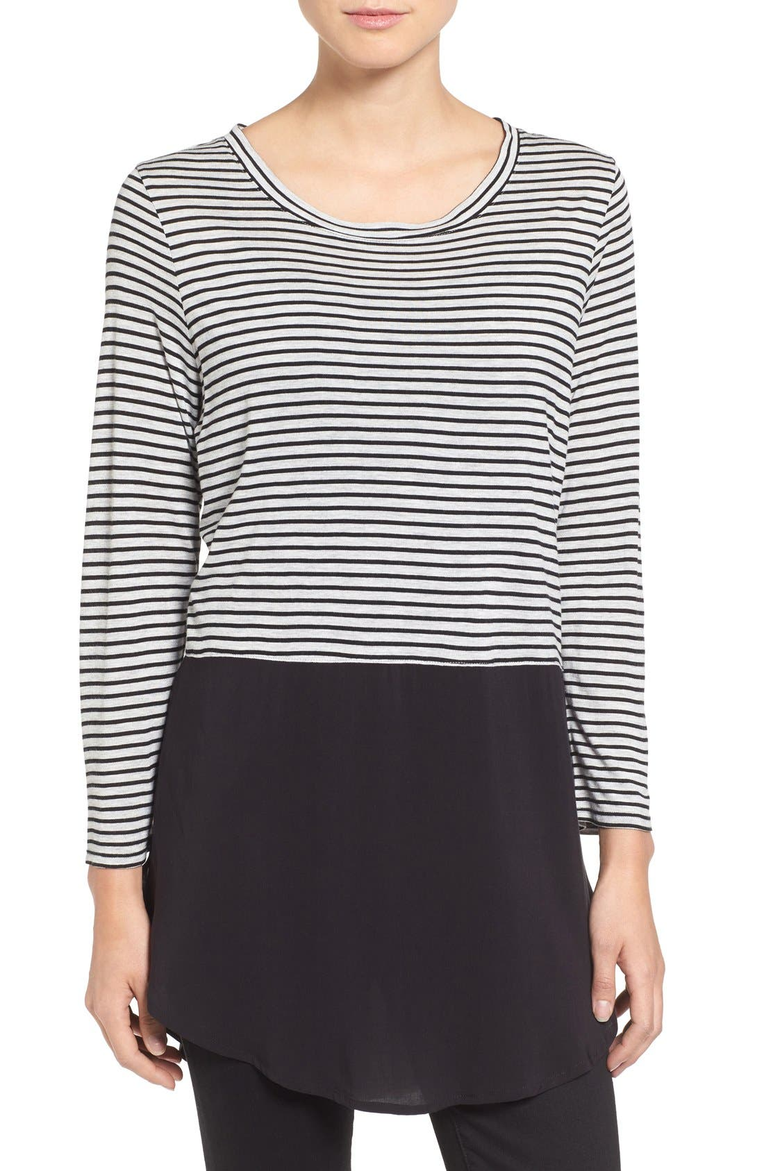Main Image - Two by Vince Camuto 'Anchor Stripe' Mixed Media Tunic