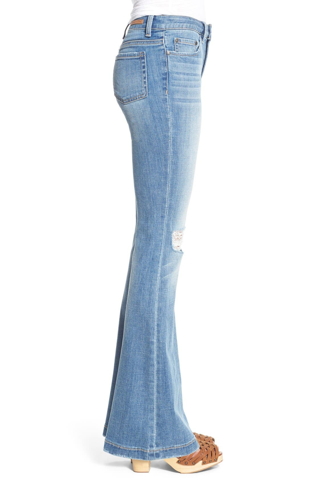 Alternate Image 3  - Sun & Shadow Distressed Flare Jeans (Kelly Blue)