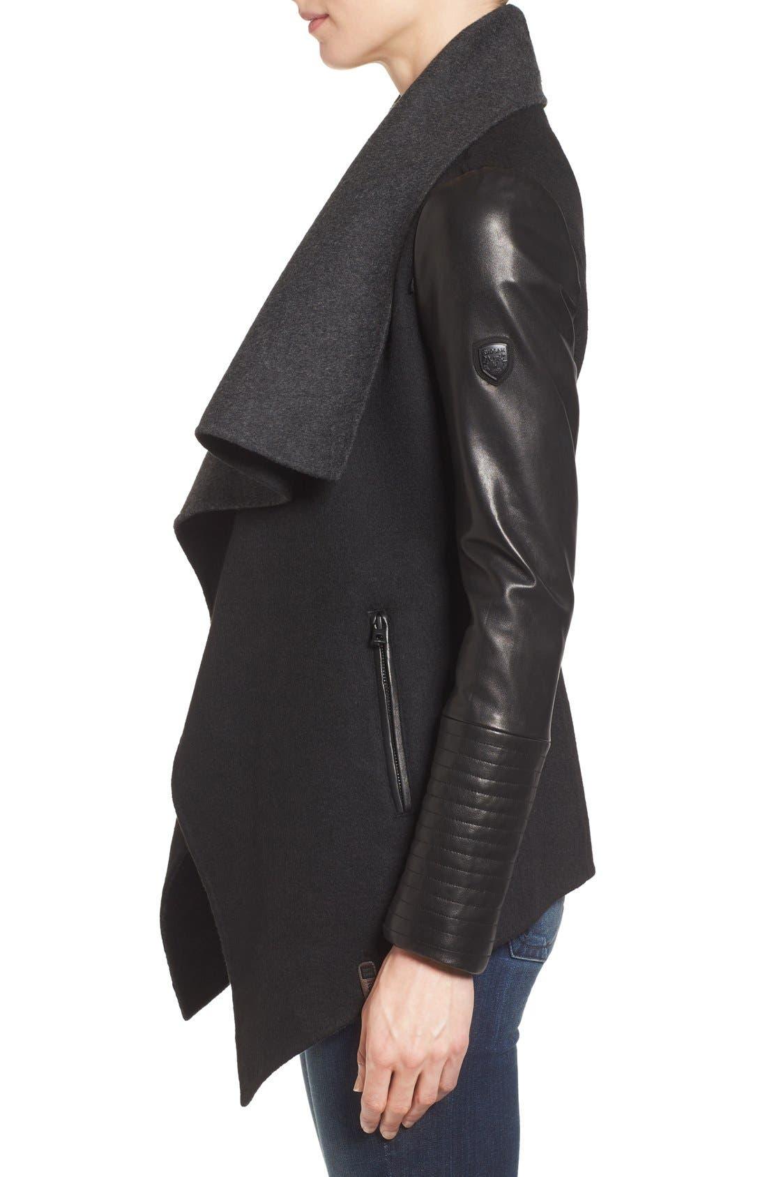 Alternate Image 3  - Rudsak Drape Front Leather Sleeve Jacket