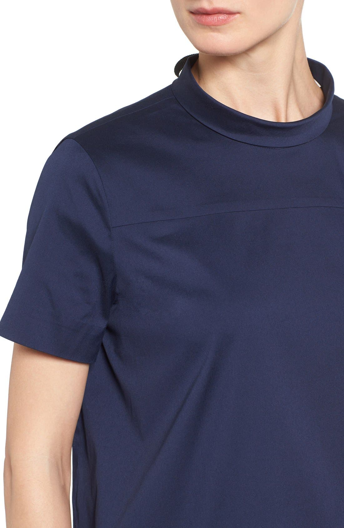 Alternate Image 4  - Halogen® Tie Back Short Sleeve Poplin Blouse (Regular & Petite)