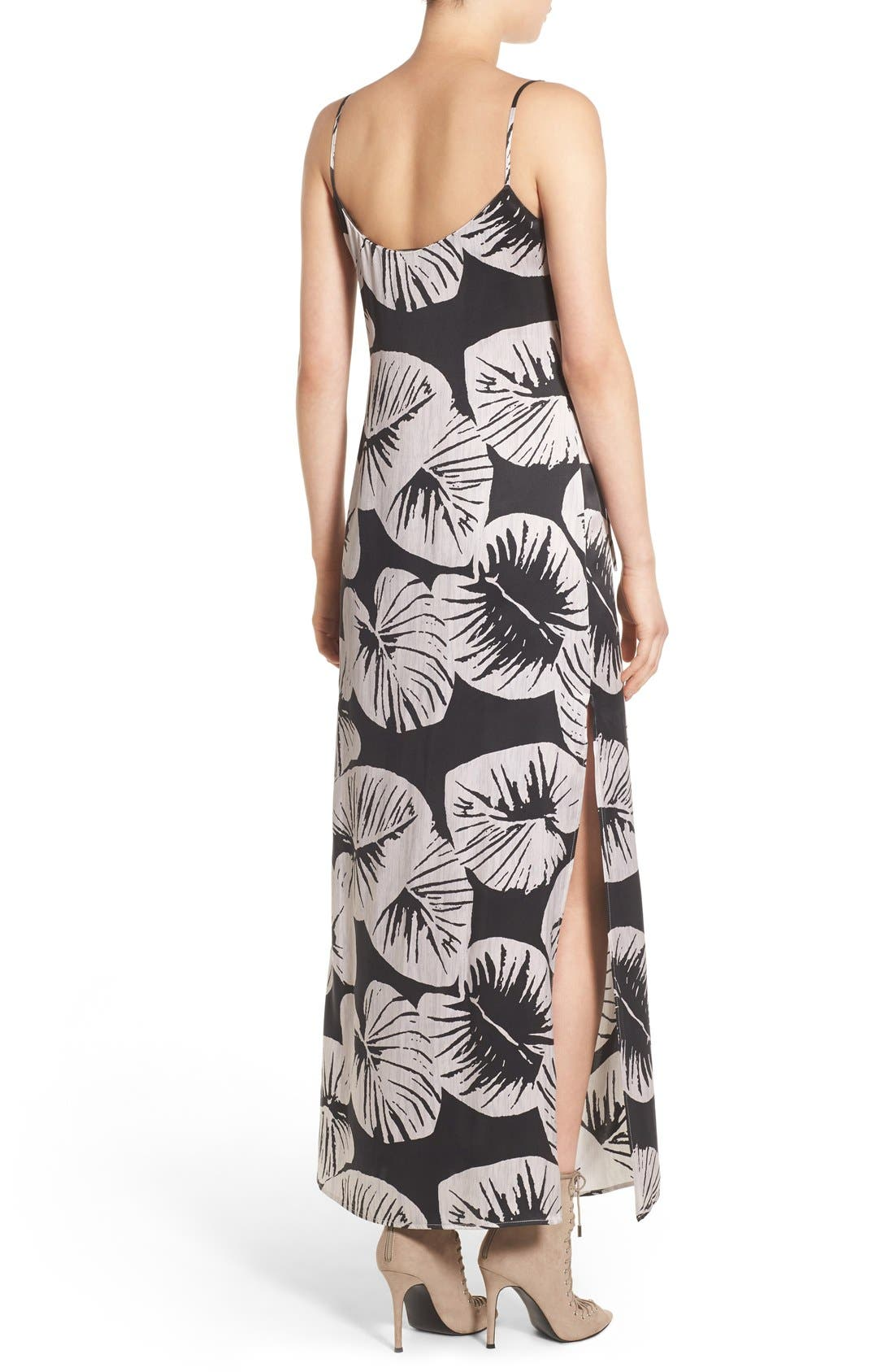Alternate Image 2  - KENDALL + KYLIE Print Cutout Silk Maxi Dress