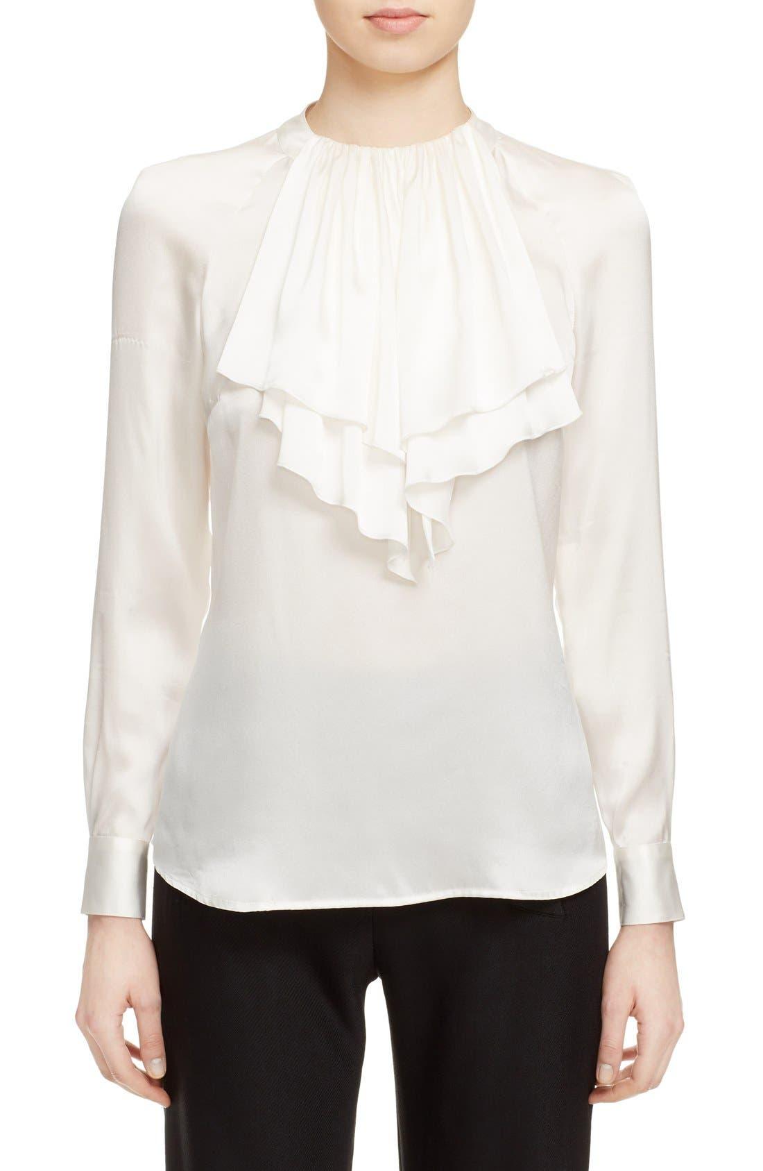 Alternate Image 1 Selected - Veronica Beard 'Riverside' Ruffle Neck Silk Blouse