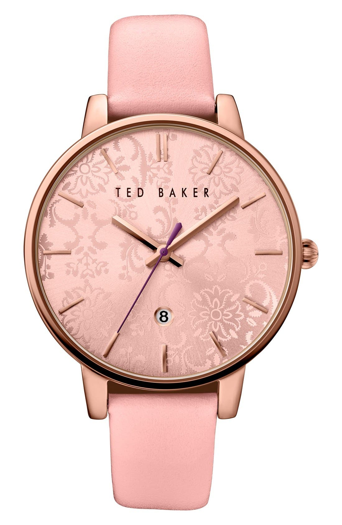 Main Image - Ted Baker London Leather Strap Watch, 40mm