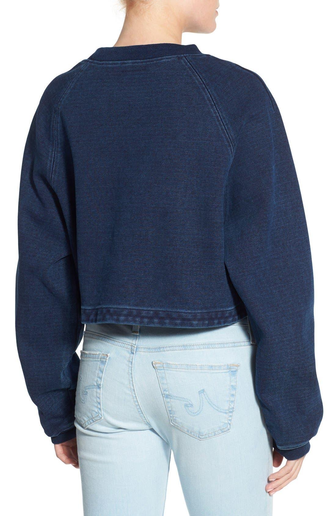 Alternate Image 2  - AG Indigo Capsule Collection Cubo Crop Sweatshirt