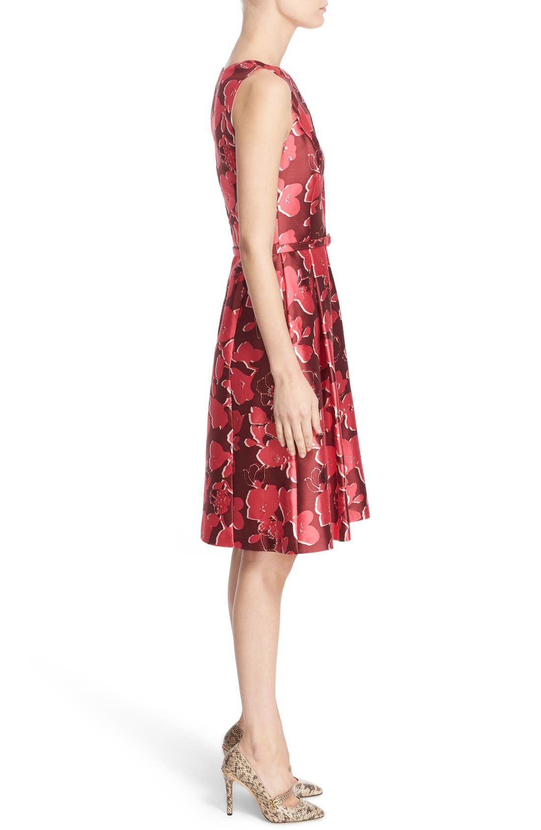 Alternate Image 5  - Oscar de la Renta Floral Print Silk Blend Mikado Fit & Flare Dress