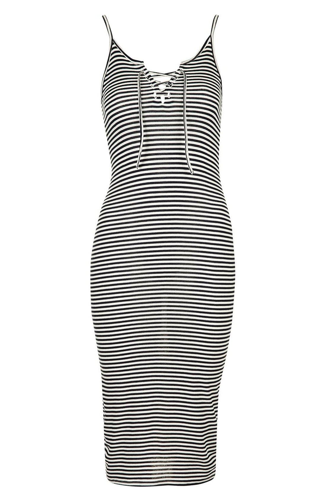 Alternate Image 2  - Topshop Stripe Lace-Up Midi Dress (Regular & Petite)