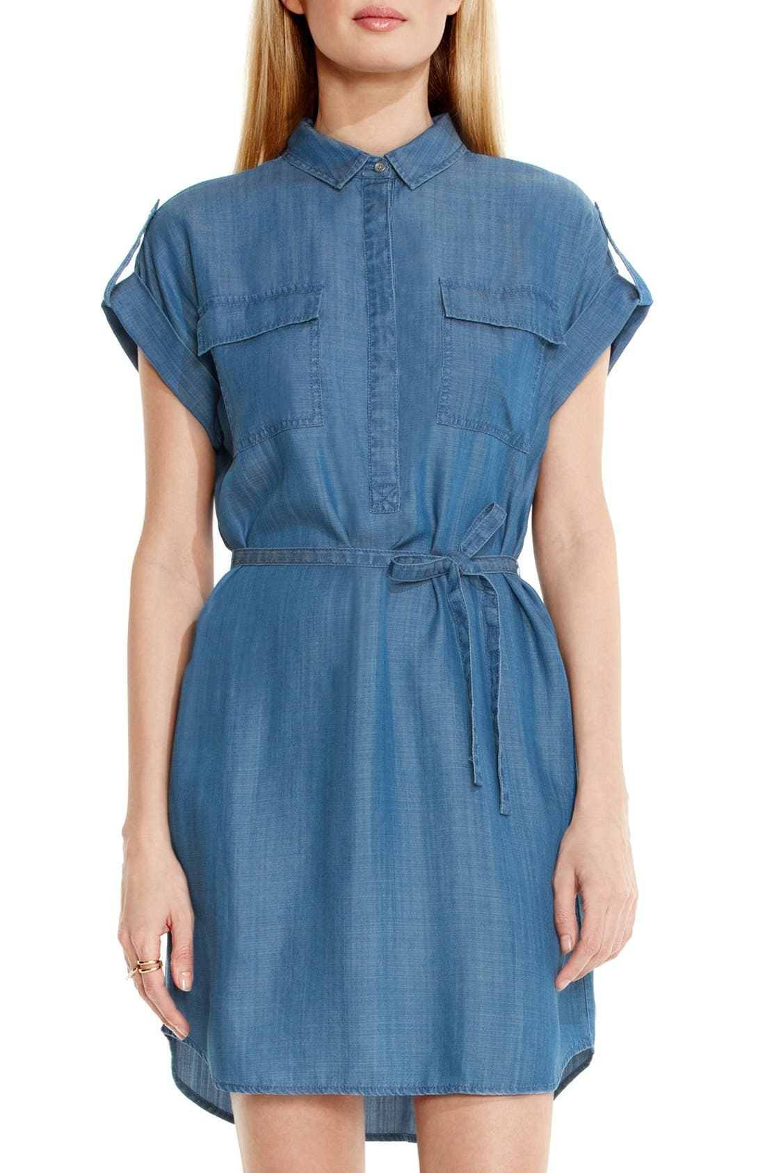 Main Image - Two by Vince Camuto Belted Chambray Shirtdress