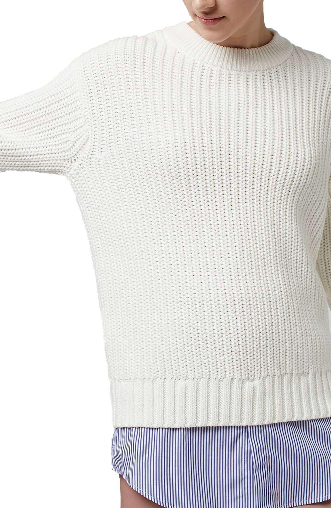 Alternate Image 4  - Topshop Boutique Shirttail Hem Ribbed Sweater