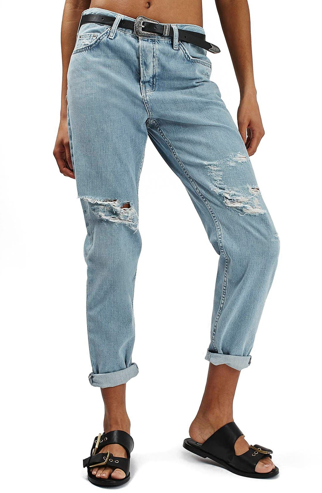 Alternate Image 1 Selected - Topshop 'Hayden' Bleach Ripped Boyfriend Jeans