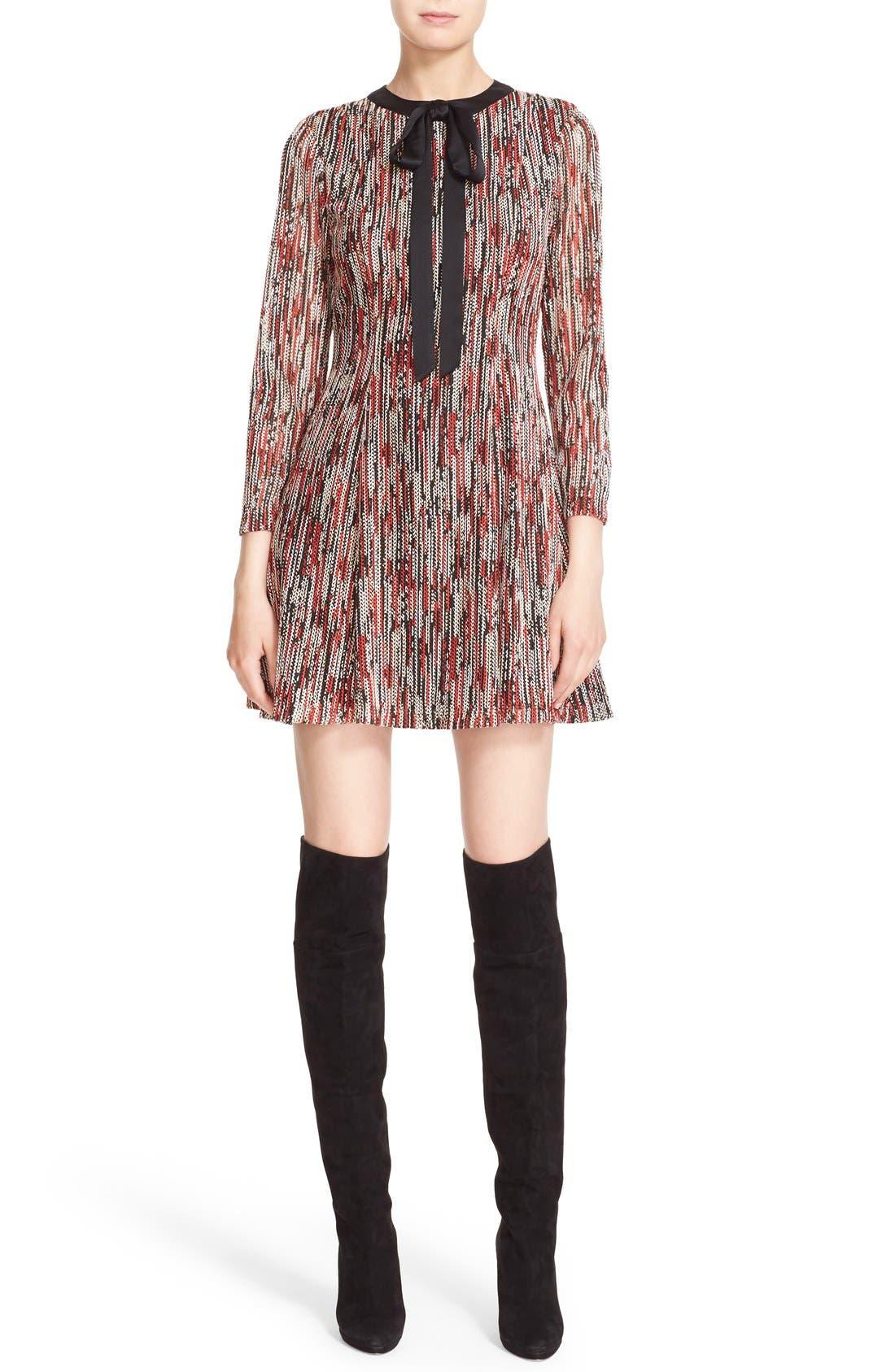 Main Image - Alice + Olivia 'Gwyneth' Print Tie Neck Fit & Flare Dress