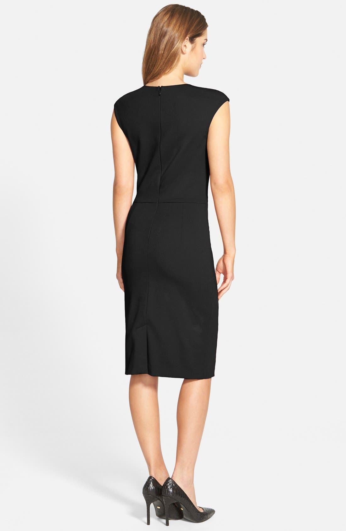 Alternate Image 2  - Betsey Johnson Ruched Ponte Sheath Dress (Online Only)