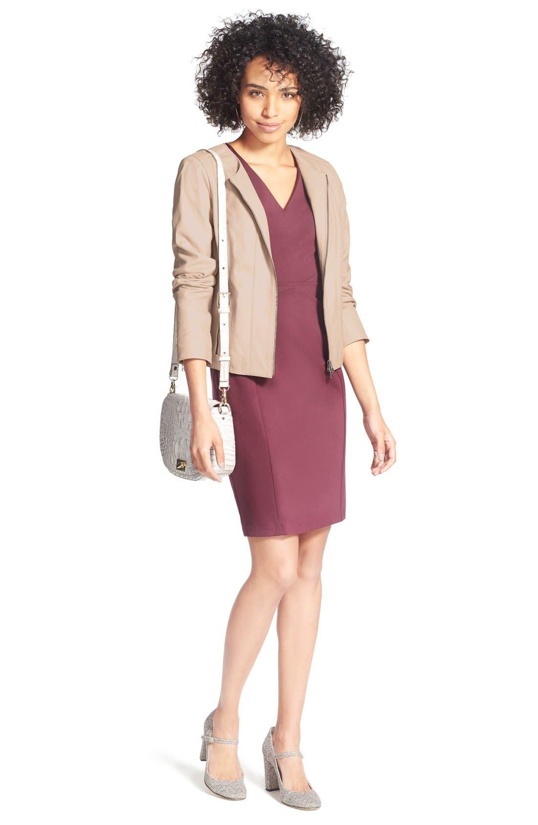 Alternate Image 2  - Halogen® Seamed V-Neck Ponte Sheath Dress (Regular & Petite)