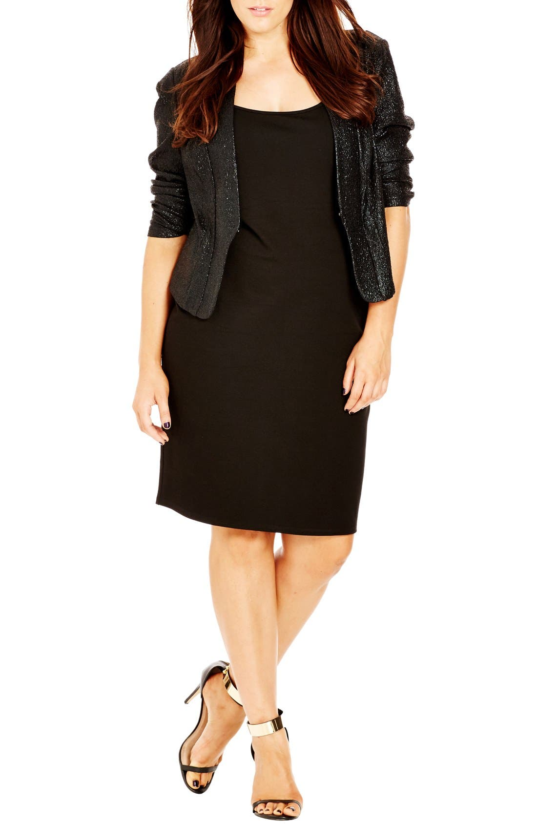 City Chic 'Shimmer' Jacket (Plus Size)