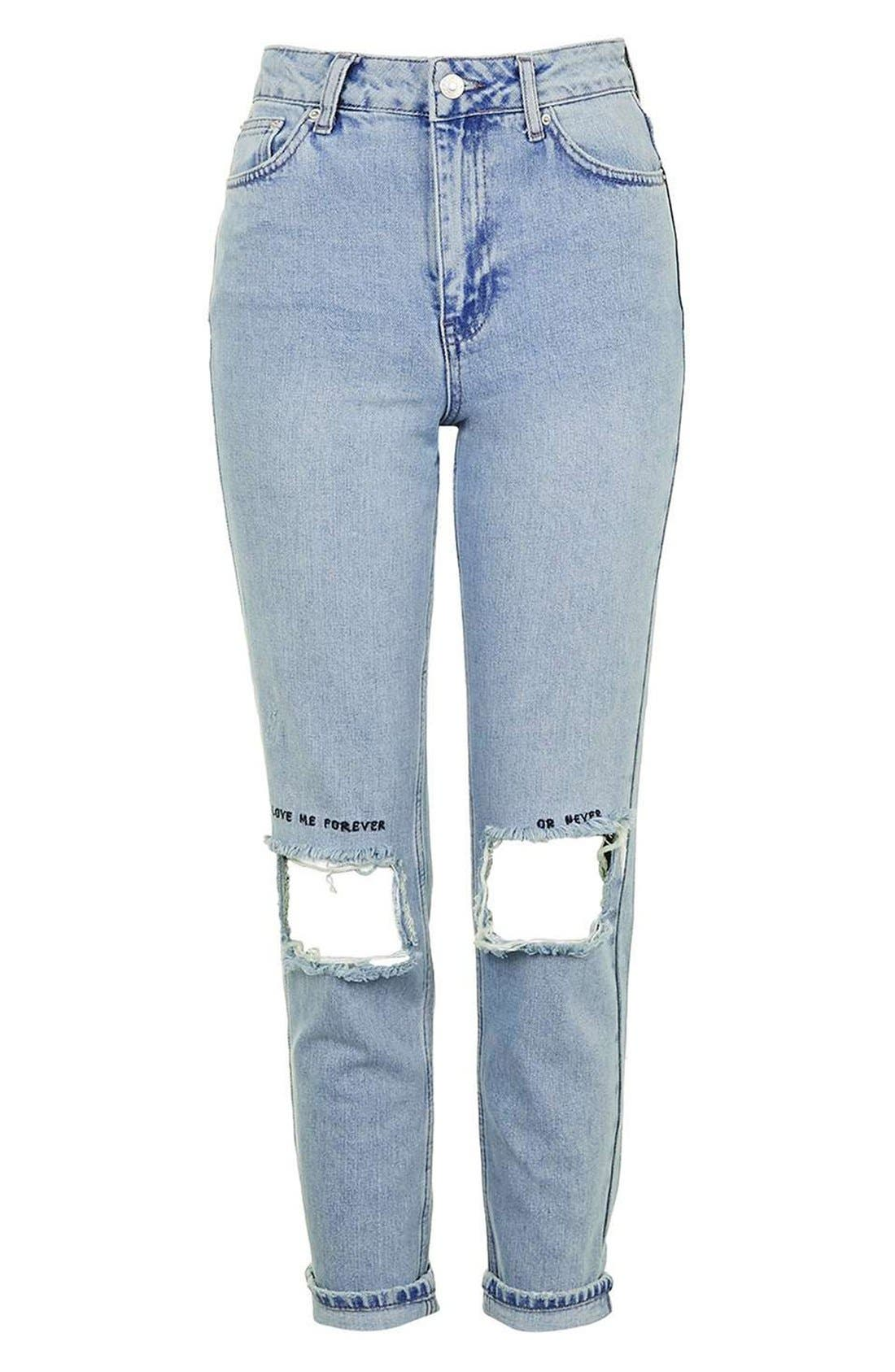 Alternate Image 4  - Topshop Embroidered Ripped Mom Jeans