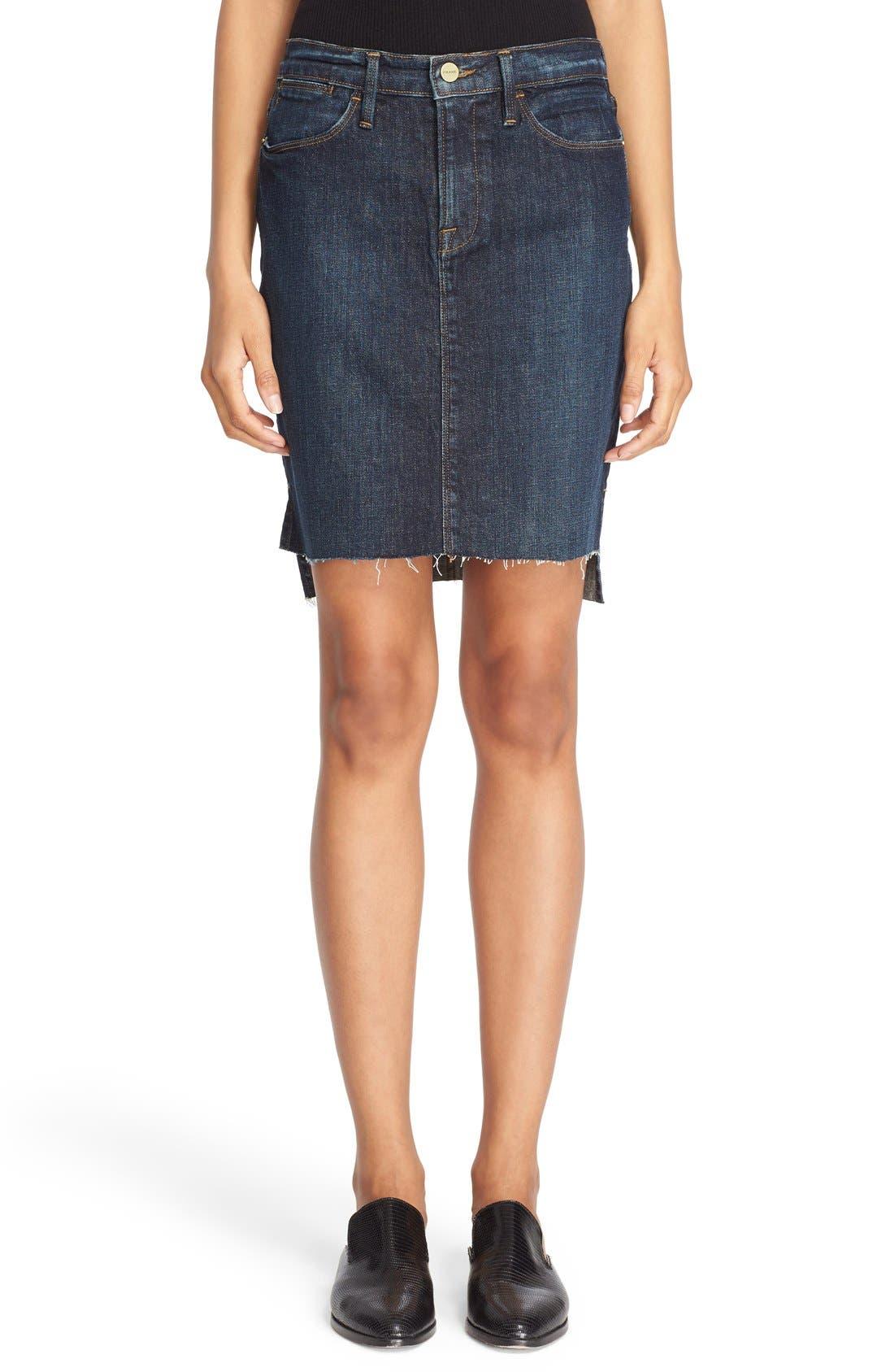 Main Image - FRAME High Rise Denim Miniskirt (Catamaran)