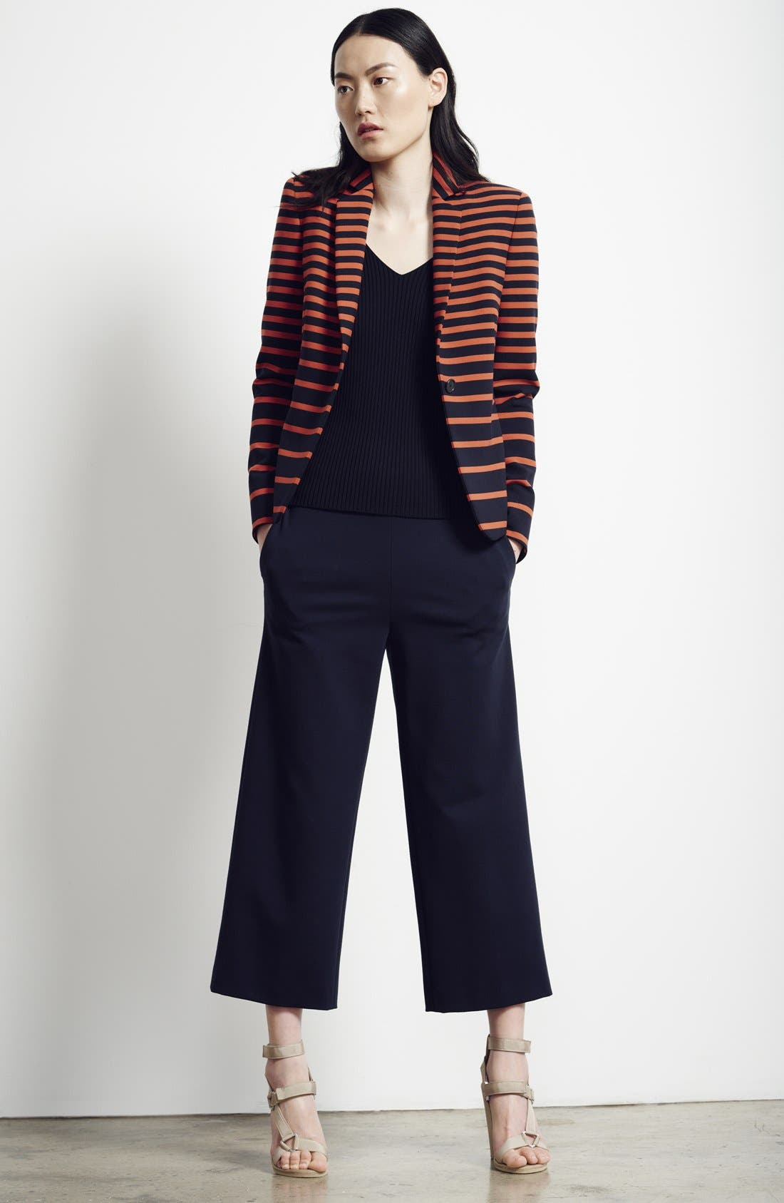 Alternate Image 3  - Akris punto Leather Trim Stripe Blazer