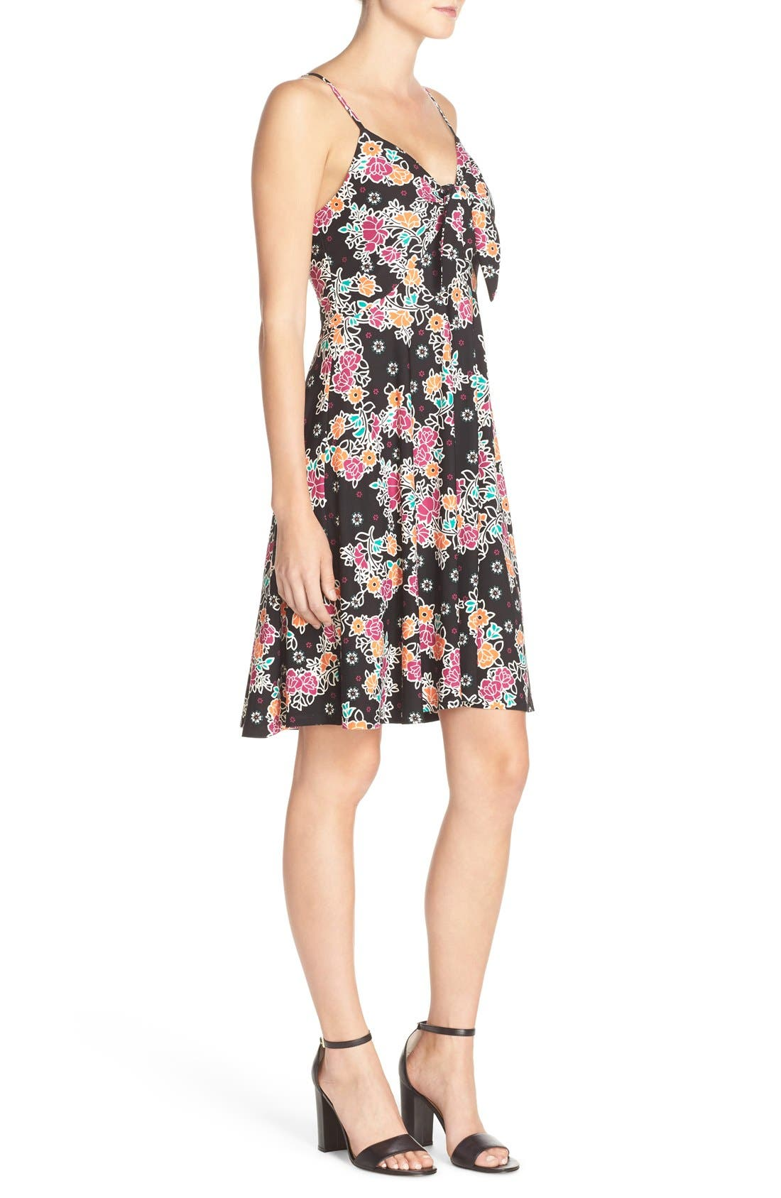 Alternate Image 3  - ECI Bow Front Print Fit & Flare Dress