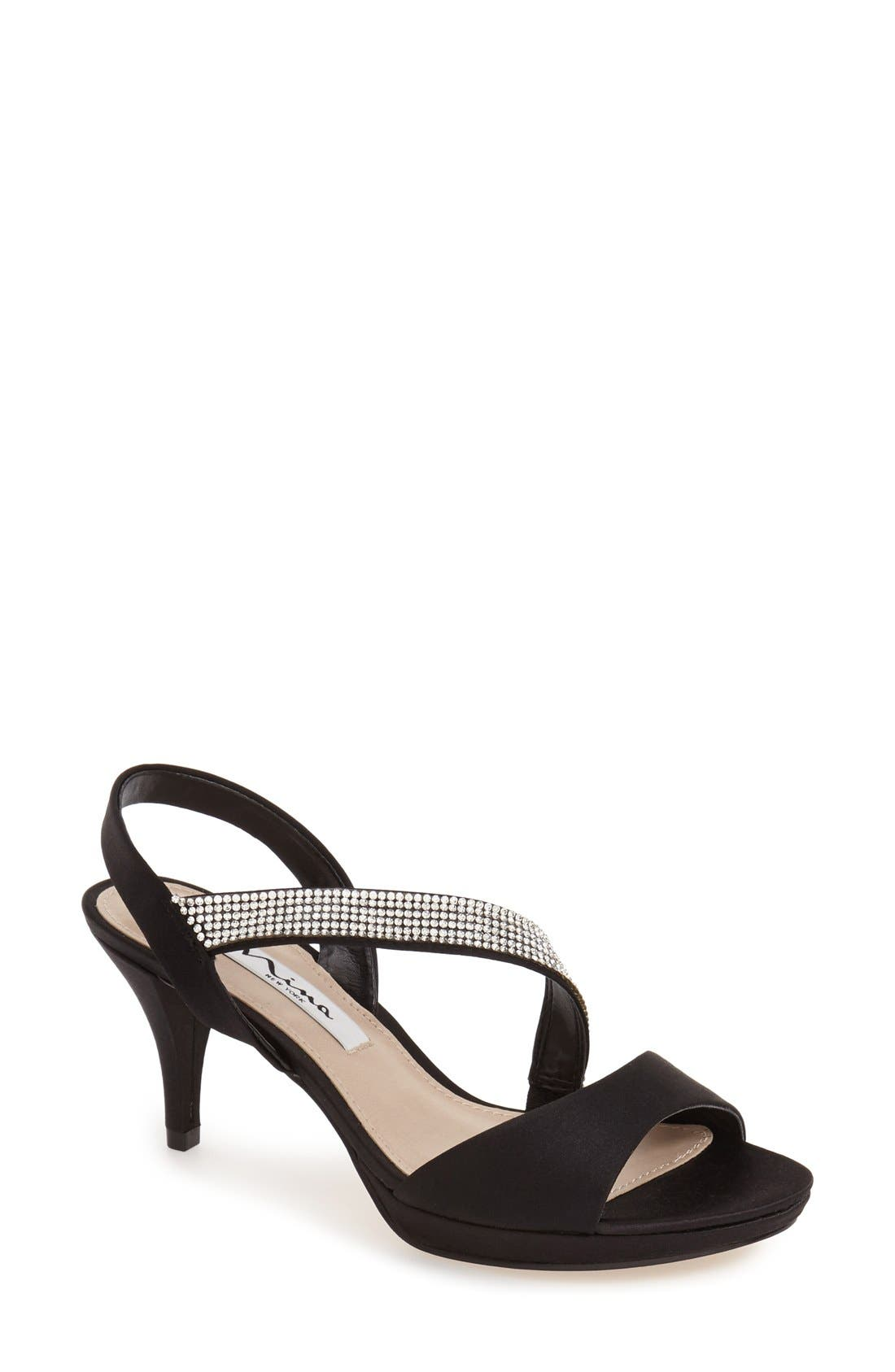 Nina 'Novelle' Crystal Embellished Evening Sandal (Women)