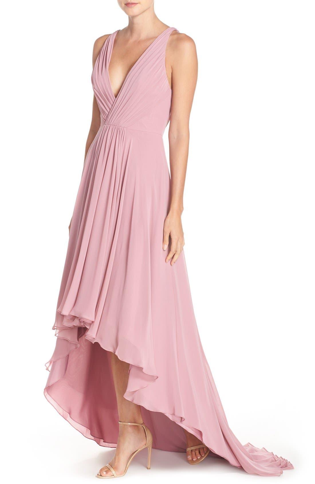 Alternate Image 4  - Monique Lhuillier Bridesmaids Deep V-Neck Chiffon High/Low Gown