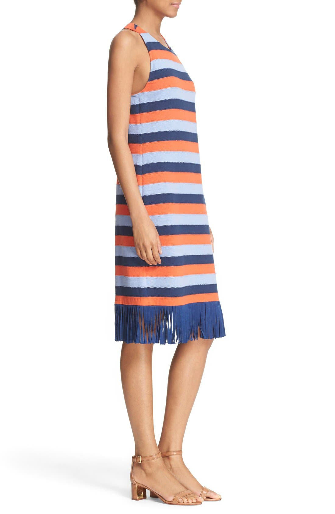 Alternate Image 3  - Tory Burch 'Ariana' Fringe Hem Stripe Tank Dress