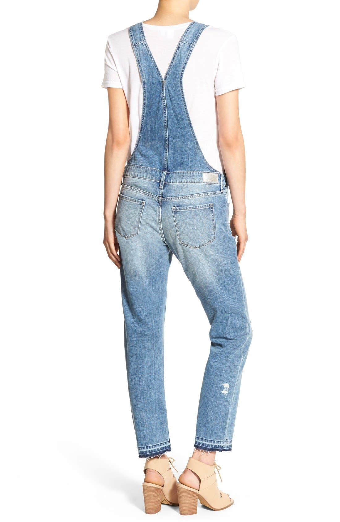Alternate Image 2  - Articles of Society Distressed Denim Overalls