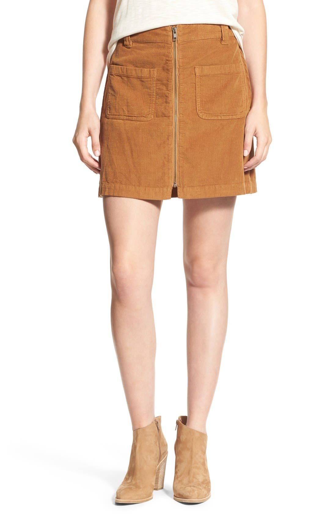 Alternate Image 1 Selected - Madewell Zip Front Corduroy Miniskirt