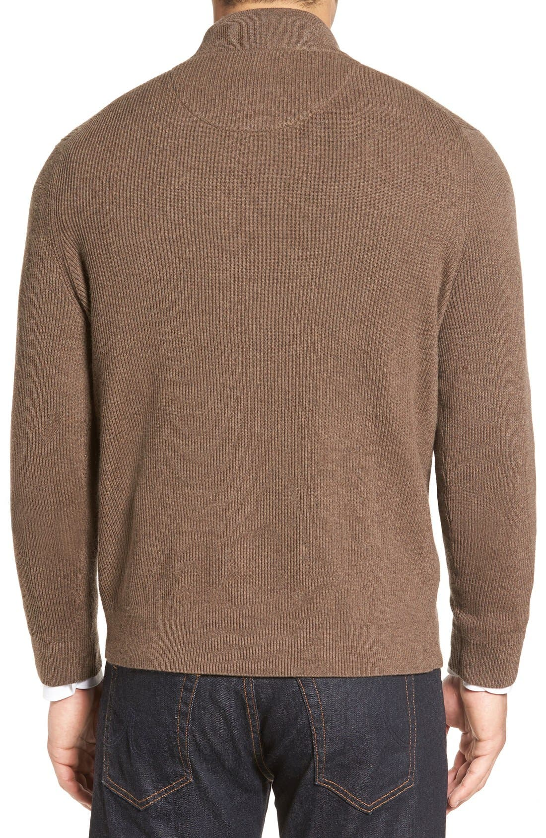 Alternate Image 2  - Nordstrom Men's Shop Cotton & Cashmere Rib Knit Sweater (Regular & Tall)