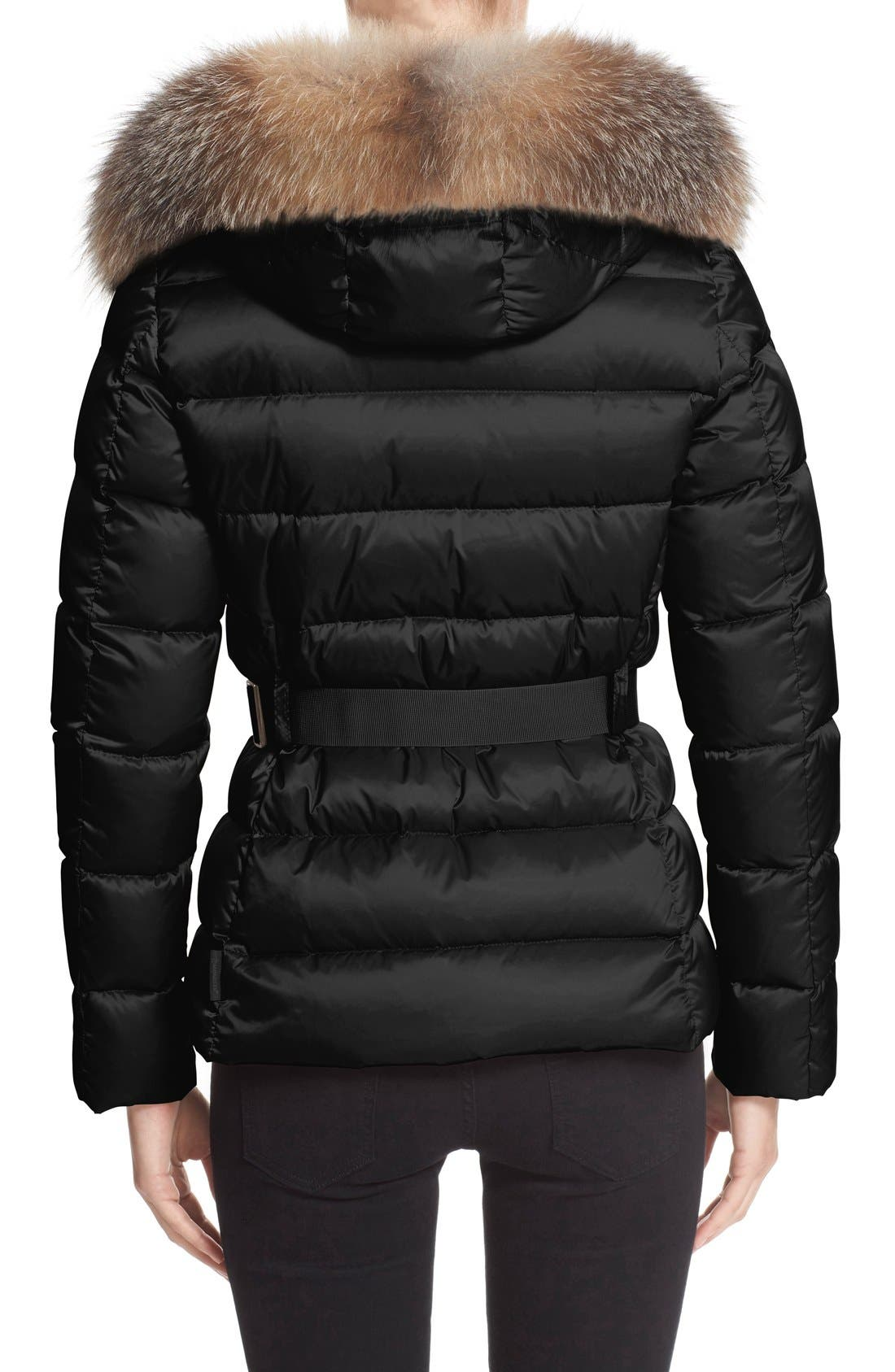 Alternate Image 2  - Moncler 'Tatie' Belted Down Puffer Coat with Removable Genuine Fox Fur Trim