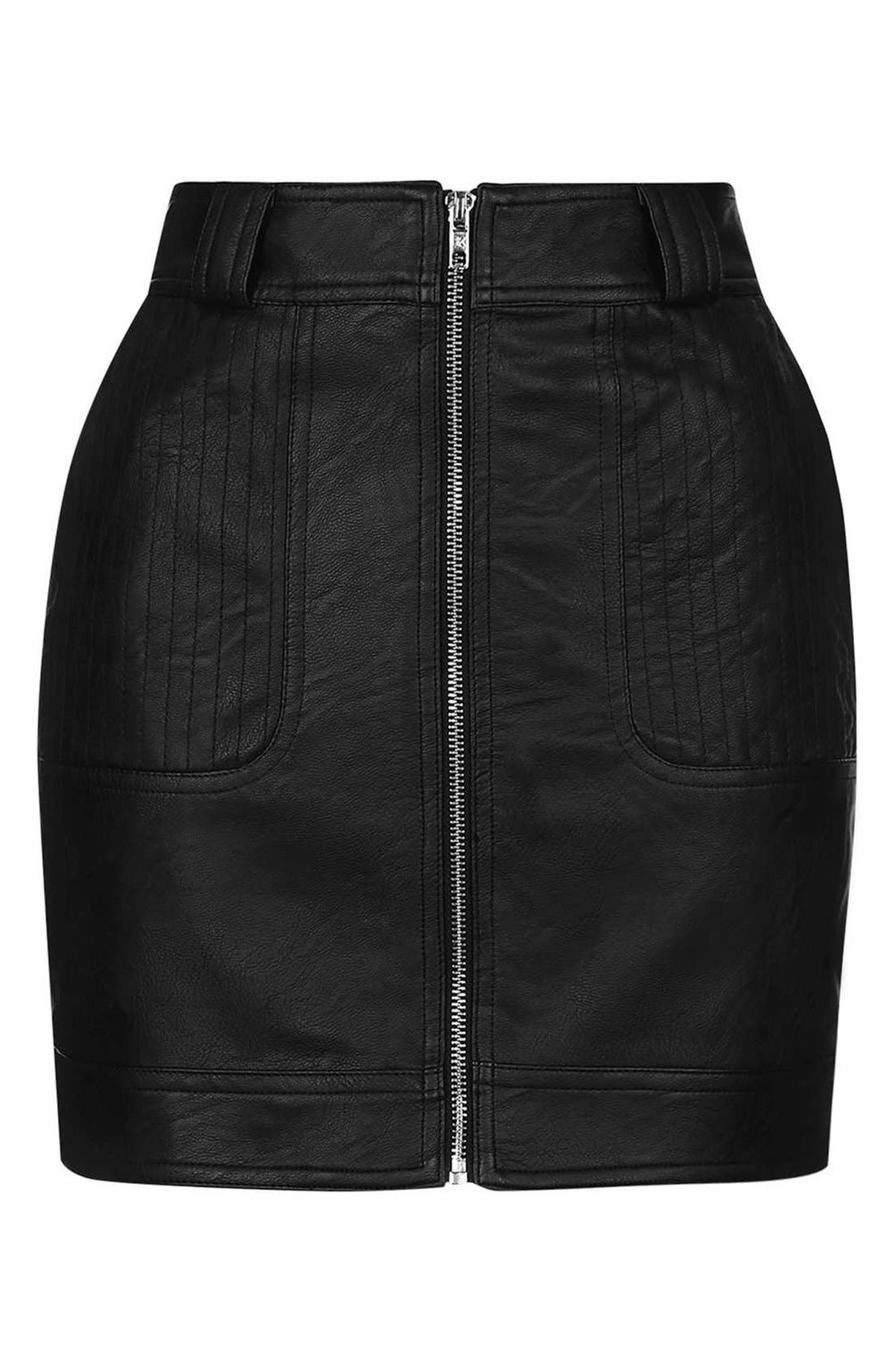 Alternate Image 4  - Topshop Stitch Detail Faux Leather Miniskirt