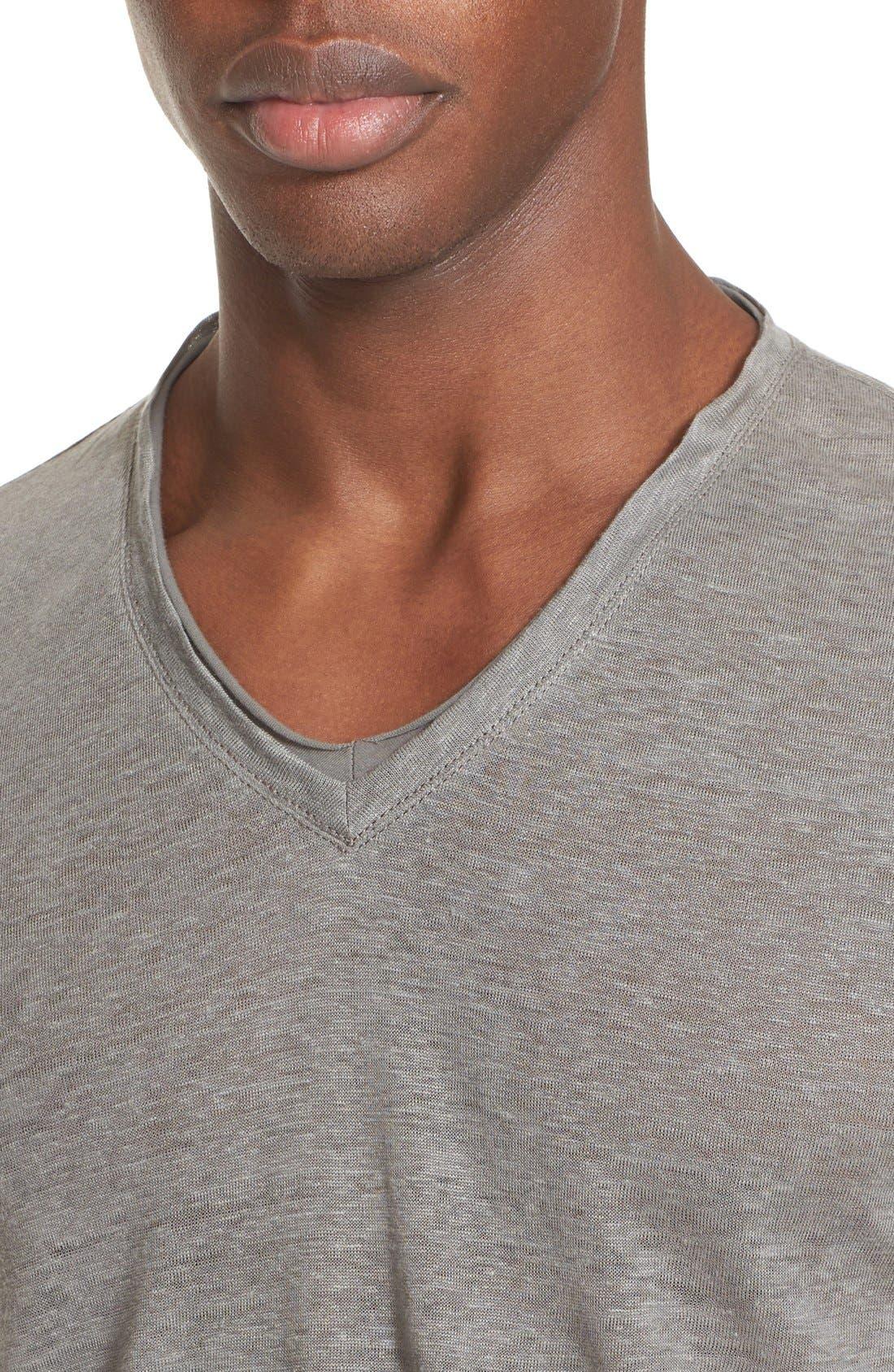 Alternate Image 4  - John Varvatos Collection V-Neck Linen T-Shirt
