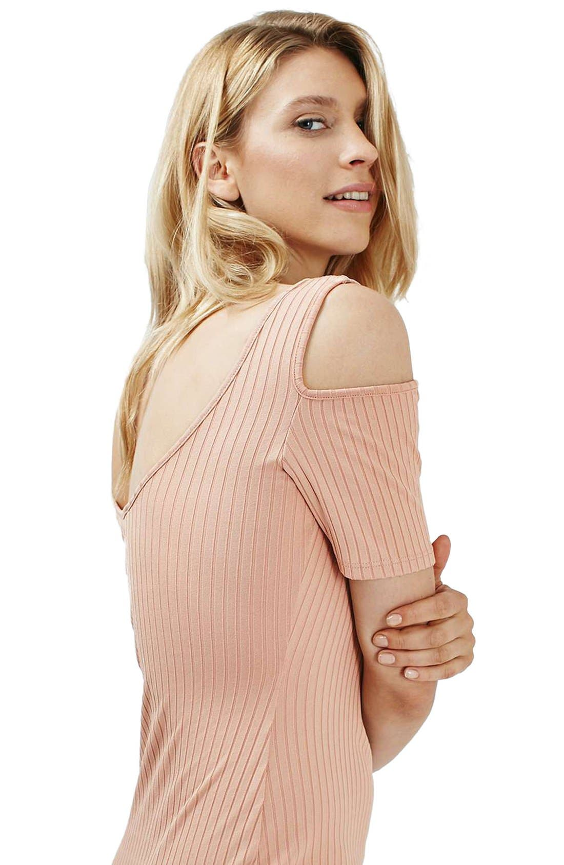 Alternate Image 3  - Topshop Cold Shoulder Ribbed Midi Dress