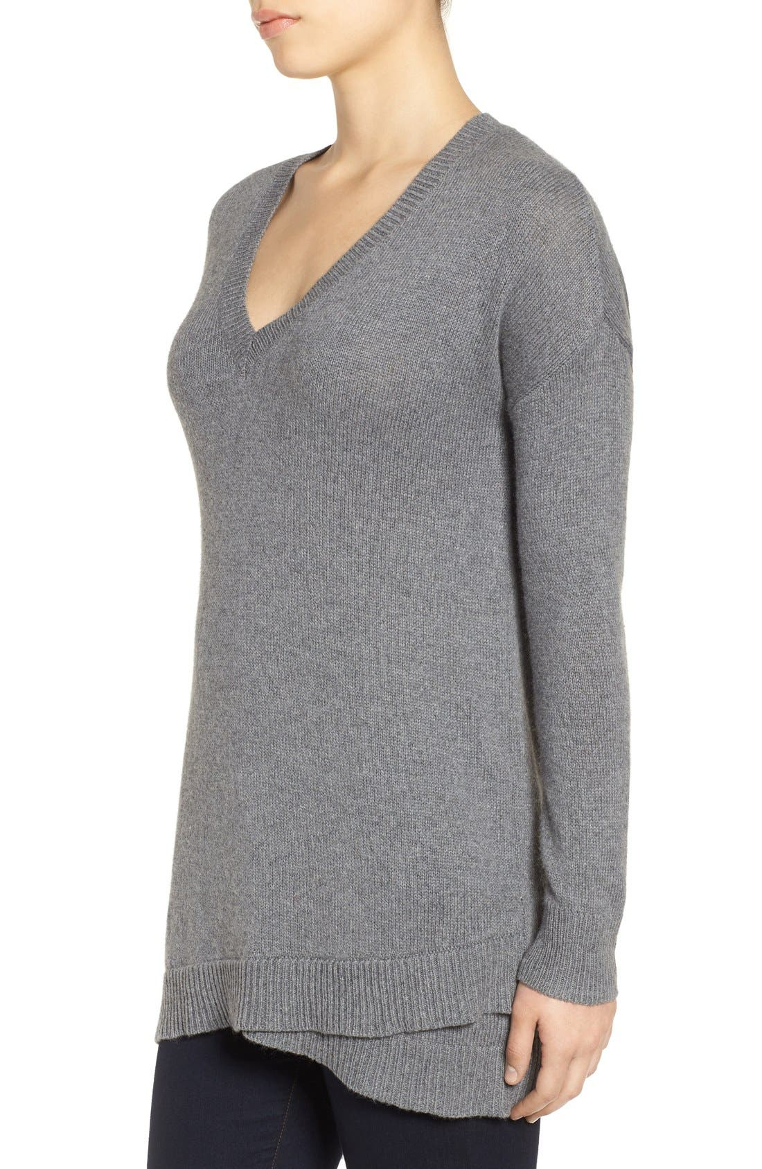 Alternate Image 3  - Halogen® V-Neck Tunic Sweater (Regular & Petite)