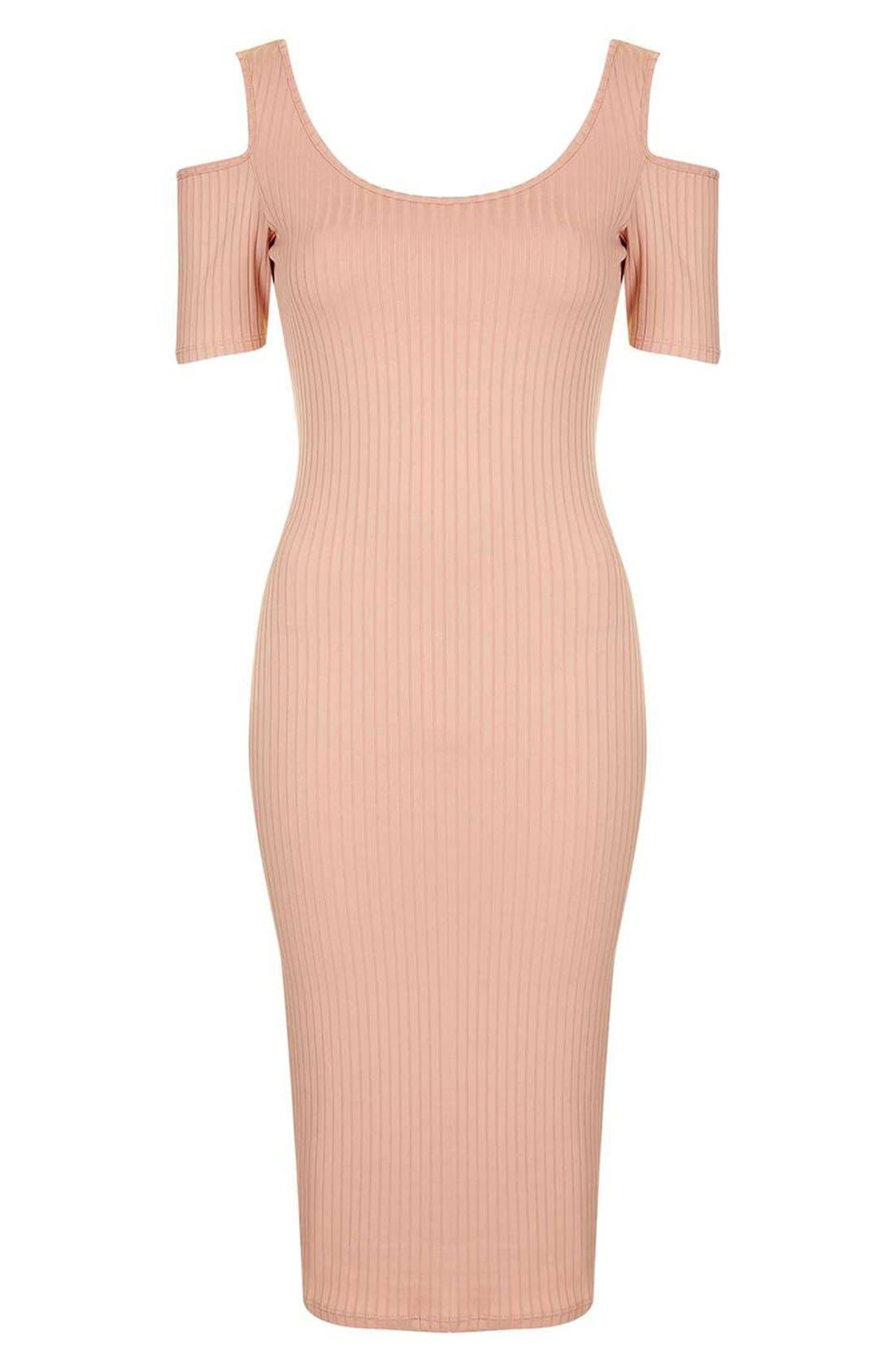 Alternate Image 4  - Topshop Cold Shoulder Ribbed Midi Dress
