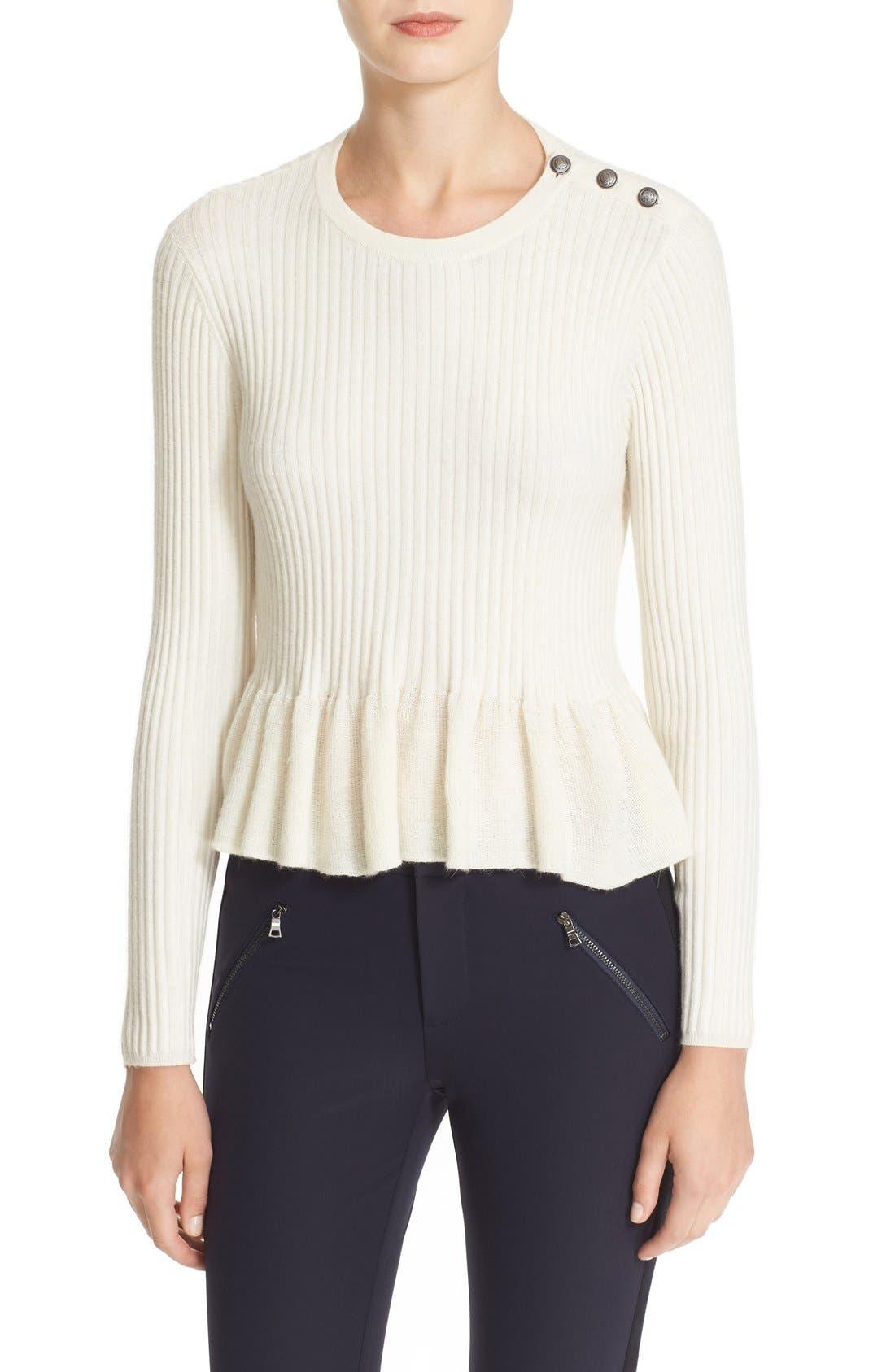 Alternate Image 1 Selected - Rebecca Taylor Rib Knit Peplum Pullover