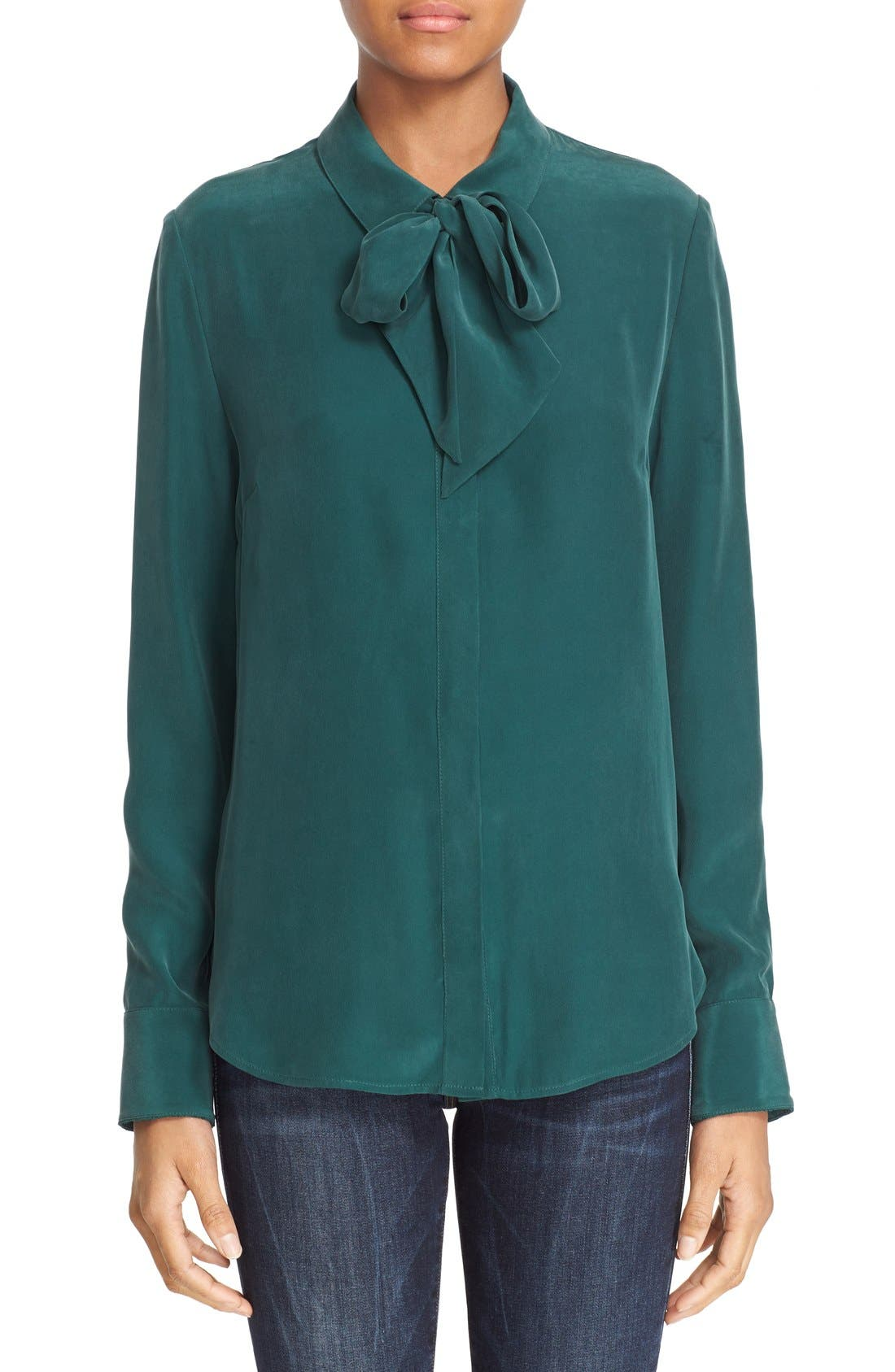 Main Image - FRAME Tie Neck Silk Blouse (Nordstrom Exclusive)